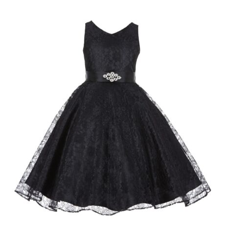 Wedding Floral Lace Overlay V-Neck Flower Girl Dress Pageant Holiday Junior 166R