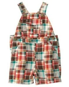 GYMBOREE-SPRING-SMILES-PLAID-PATCHWORK-WOVEN-OVERALLS-0-3-12-18-24-NWT