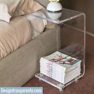 Comodino-plexiglass-moderno-con-ruote-portariviste-in-plexiglass-trasparente