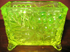 Vintage Vaseline glass toothpick business card holder uranium yellow canary Boyd