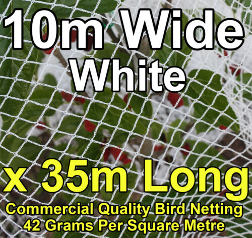 Commercial Knitted Anti Bird Netting 10 Metres Wide x  35 Metres Long White