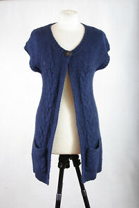P395c36 Fat Face Navy Blue Wool/Mohair Blend Chunky Cable Knit Cardigan, UK8/10