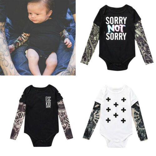 3-24M Infant Baby Boy Kids Tattoo Splice Long Sleeve Romper Tops Jumpsuit Blouse