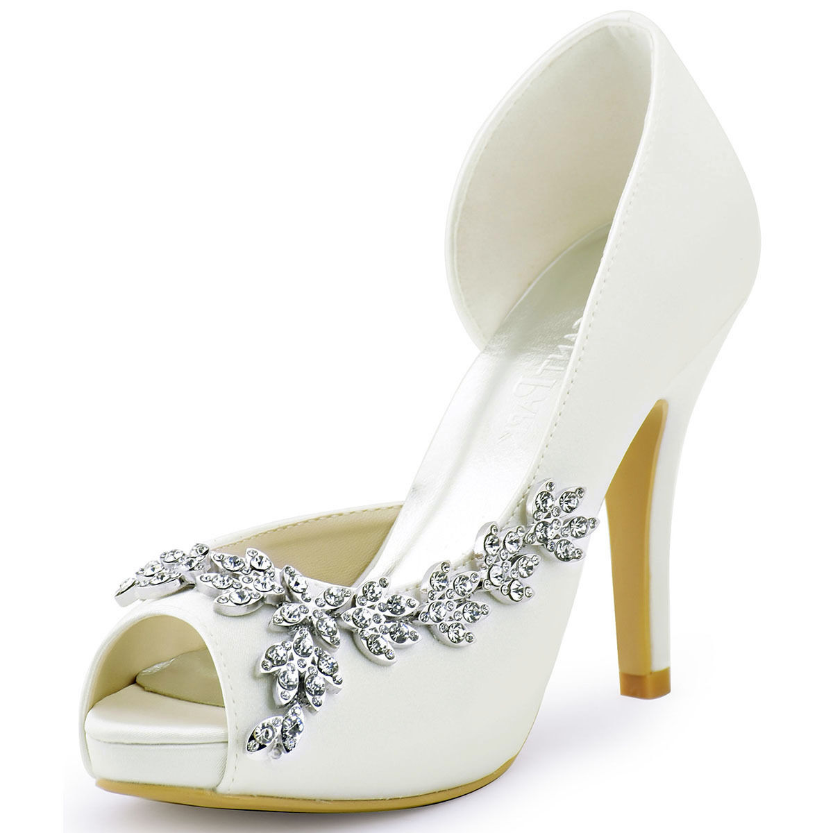High Heels Peep Toe Rhinestones Rhinestones Rhinestones Satin Party Pumps Wedding Bridal shoes Size 4-11 01276e