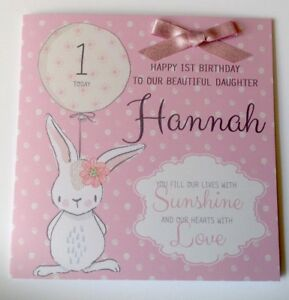 Image Is Loading Personalised Bunny 1st Birthday Card Daughter Granddaughter Niece