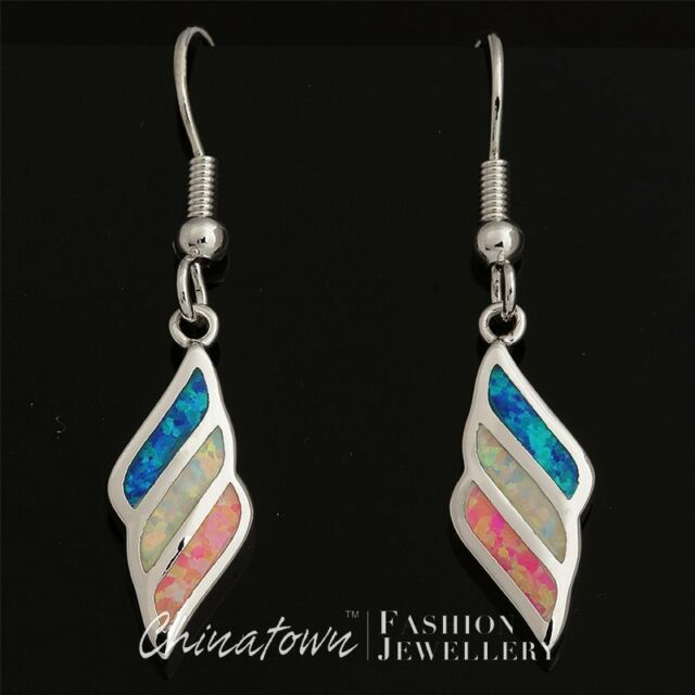 White & Blue & Pink Fire Opal Mixed Inlay Silver Jewelry Dangle Drop Earrings