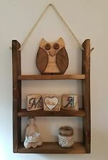 Rustic Rope Hanging Wooden Shelf - Dark wood stained and waxed