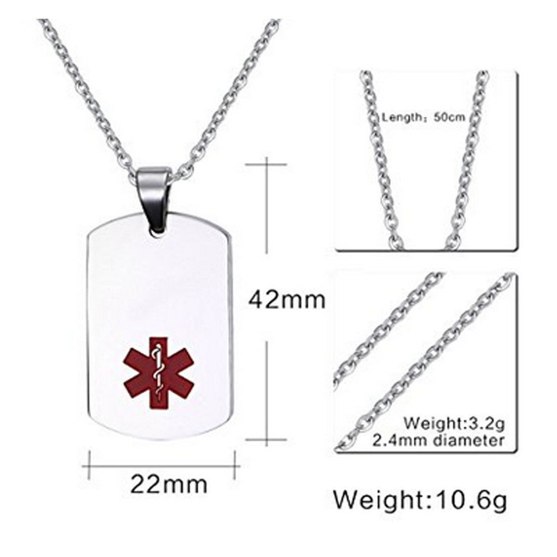 New Stainless Steel Zodiac Dog Tag Pendant Men S Women S: Vincenza Stainless Steel Medical Alert ID Dog Tag Pendant