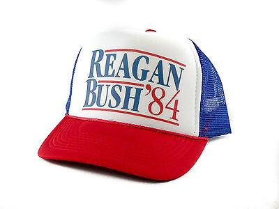 Ronald Reagan George Bush 84 Campaign Trucker Hat Vintage