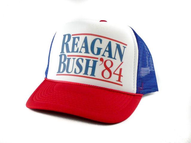 Ronald Reagan George Bush 84 Campaign Trucker Hat Vintage Political Retro  Cap 642f560cb39