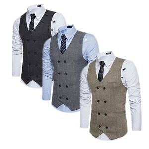 Men-Formal-Casual-Business-Vest-Suit-Slim-Double-Breasted-Plaid-Waistcoat-Coat-O