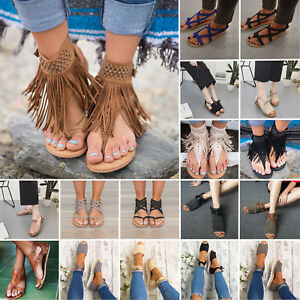 Casual-Womens-Flat-Low-Wedge-Heels-Espadrilles-Sandals-Boho-Summer-Holiday-Shoes