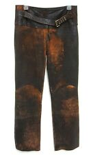 Roberto Cavalli Italy Distressed Brown Leather Belted Pants Sz 30