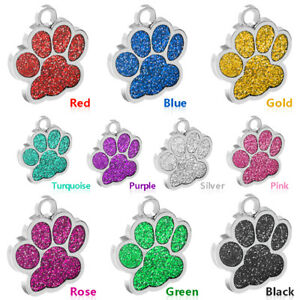Details about Wholesale Blank Glitter Paw Print Personalized Dog Tag Lot  Custom ID Tag 9 Color