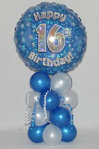 Image Is Loading 16th BIRTHDAY AGE 16 BOY BLUE FOIL BALLOON