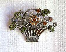 CATHERINE POPESCO FLOWER BASKET BROOCH Silverplate Swarovski Crystal Green Amber