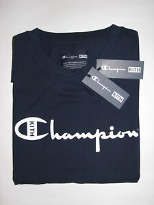 2549e5da Kith x Champion Script Logo Tee Shirt Navy Blue Mens Large NEW ...