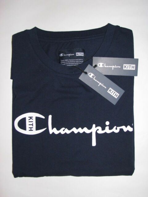 112d9d3e1b01 Kith x Champion Script Logo Tee Shirt Navy Blue Mens Large NEW! Ronnie Fieg