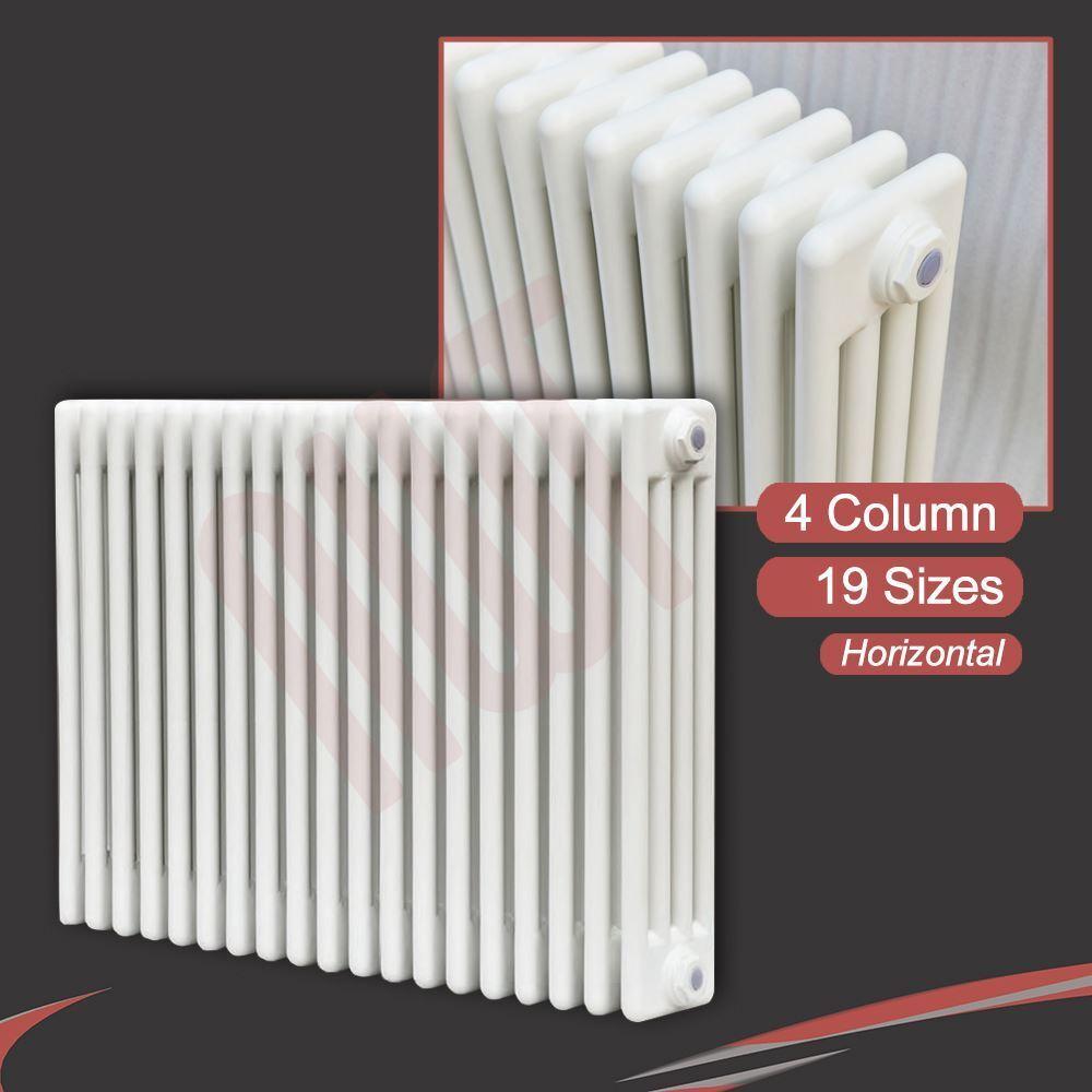Columna térmica 4 blancoo Horizontal radiadores de columna (19 Tamaños) + Pies