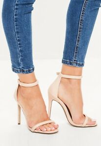 MISSGUIDED-LADIES-nude-patent-rounded-strap-barely-there-heels-SIZE-7-M33