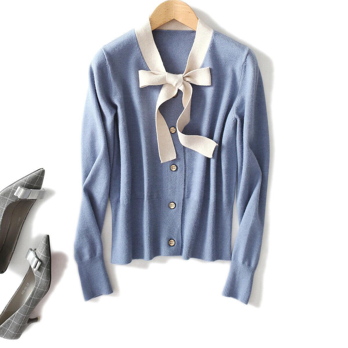New Women Temperament Comfortable Contrast color Ribbon Bow Long Sleeve Cardigan
