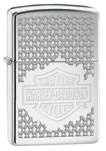 "ZIPPO ""BLUE MOTORCYCLE HARLEY DAVIDSON"" POLISHED CHROME COLOR LIGHTER *NEW iBOX*"