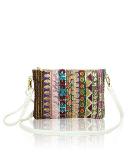 Womens Aztec Print Embroidery Clutch Wristlet Purse Bag Ladies Shoulder Handbag