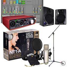 Rode NT1-A Bundle w/ Focusrite 2i2 Recording Interface M-Audio Monitors Stand