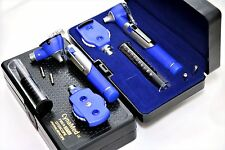 Premium FIber Optic Mini Otoscope Opthalmoscope (Diagnostic Set ENT)-BLUE COLOR