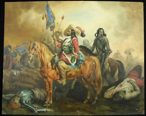 Drawing-Regiment-Royal-etranger-Cavalry-Scene-of-Battle-Xviie-Spain