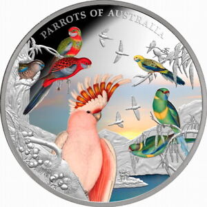 Niue-2021-Parrots-of-Australia-Berlin-WMF-10-5-Oz-Pure-Silver-Color-Proof-OGP