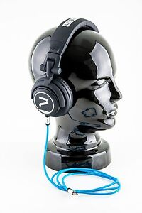 7even-Headphone-black-blue-Dj-Sport-Freizeit-Kopfhoerer-mit-Textilkabel