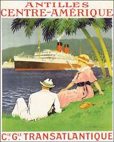 Poster Antilles Central America Transatlantic Ship Travel Vintage Repro Free S/h