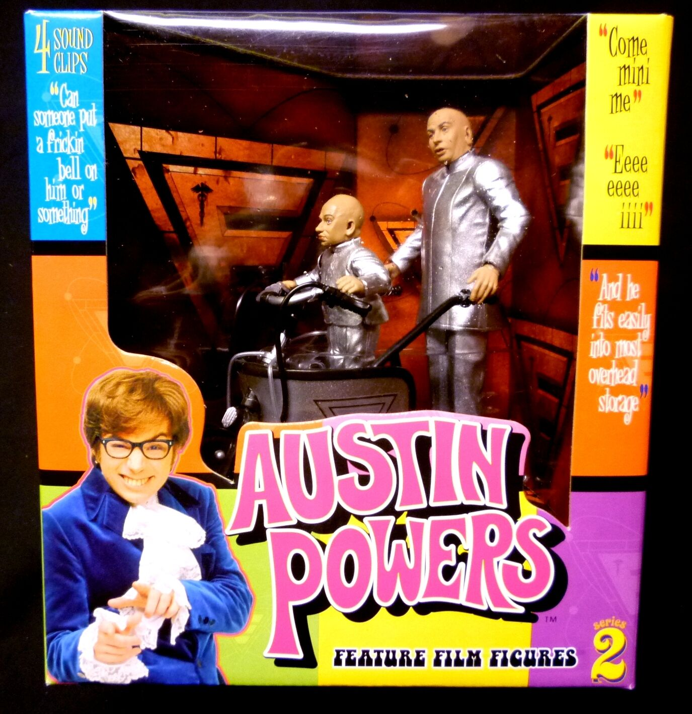 Austin Powers Dr Evil and Mini Me Deluxe Mini Mobile Set McFarlane Toys new 2000