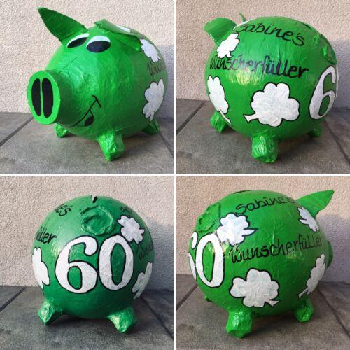 Sparschwein XXL 60 Geburtstag Glücksschwein Kleeblätter Wunscherfüller Geldbox