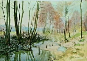 Gustav-Mueller-Aquarell-Hochwassergraben-bei-Katzwang-2-25-Maerz-1953