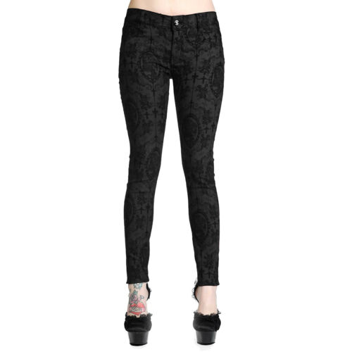 Steampunk Skinny Banned Burgundy Cross Trousers Cameo Black Jeans Tight Gothic ttPARw