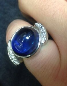 Vintage Mans 14k White Gold With Lab Created Sapphire