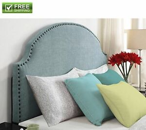 pretty nice 2423f c0ee0 Details about Upholstered Headboard Light Blue Linen For Full Queen Bed  Bedroom Furniture New!