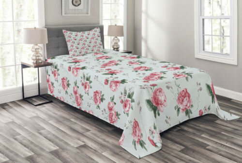 Details about  /Romantic Quilted Bedspread /& Pillow Shams Set Spring Flowers Roses Print