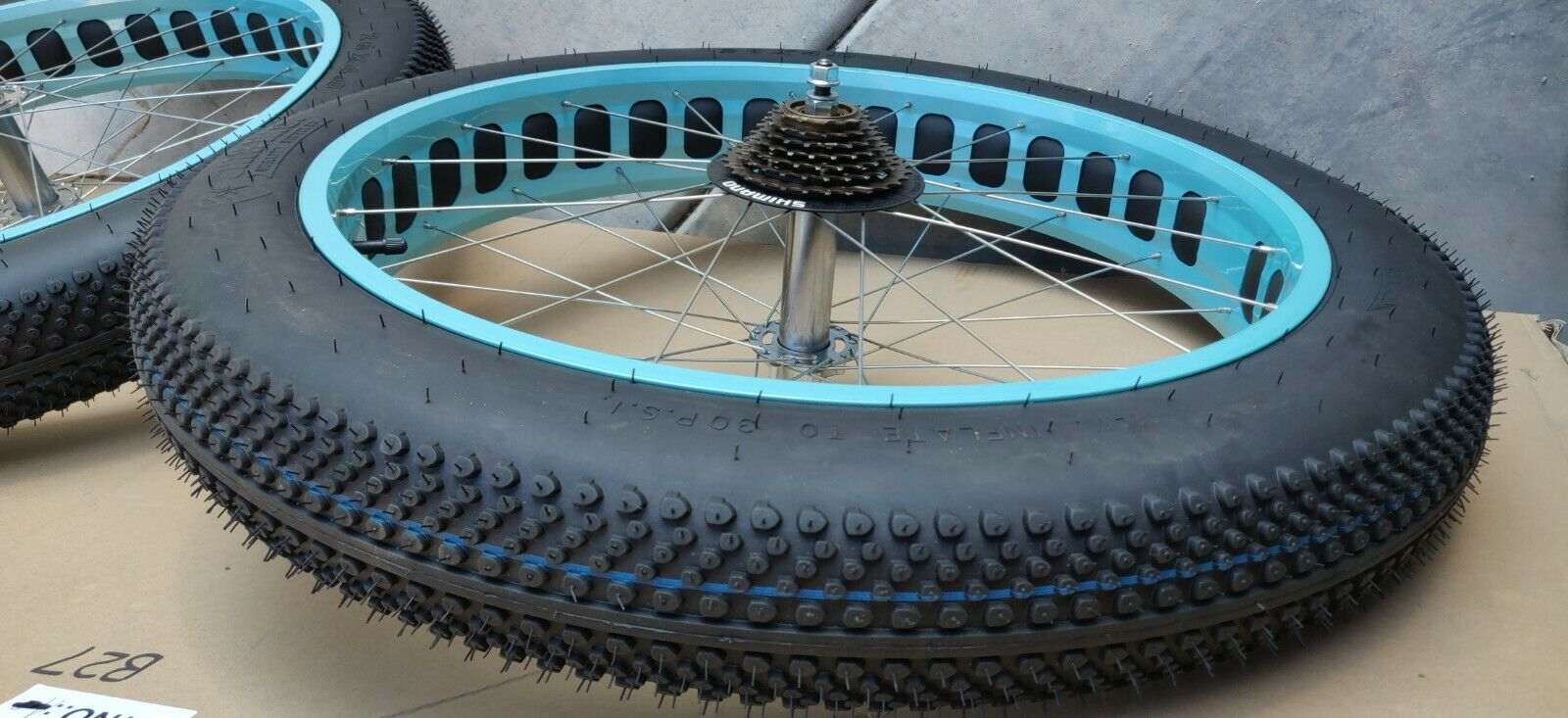 26X4 SIKK FAT TIRE BIKE RIMS AND TIRES- TEAL 7 SPEED
