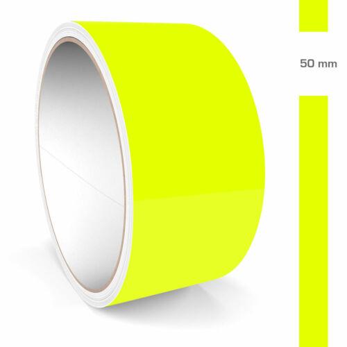 Zierstreifen 50mm 10 Meter Neon Gelb Fluoreszierend Glänzend Glanz Auto Boot