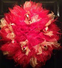 Christmas Wreath Red And Gold Door Wreath Deco Mesh Ornament Balls