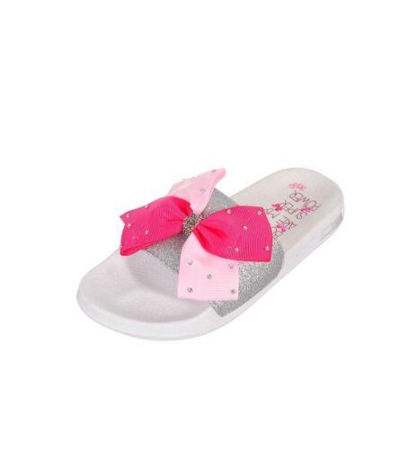 JoJo Siwa White Sliver Pink Bow Rhinestone
