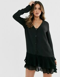 MISSGUIDED-V-Neck-Shift-Dress-with-Pleated-Hem-in-Black-SIZE-UK-8-EU-36