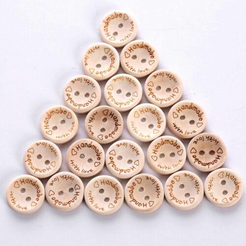 100Pcs Wood Handmade 2 Holes Wooden Buttons Sewing Scrapbooking DIY Random Good