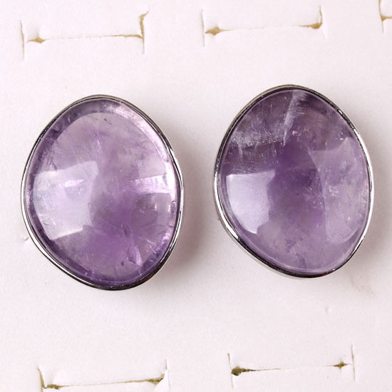 1x Silver Plated Amethyst Stone Random/Oval Shape Adjustable Finger Ring Jewelry