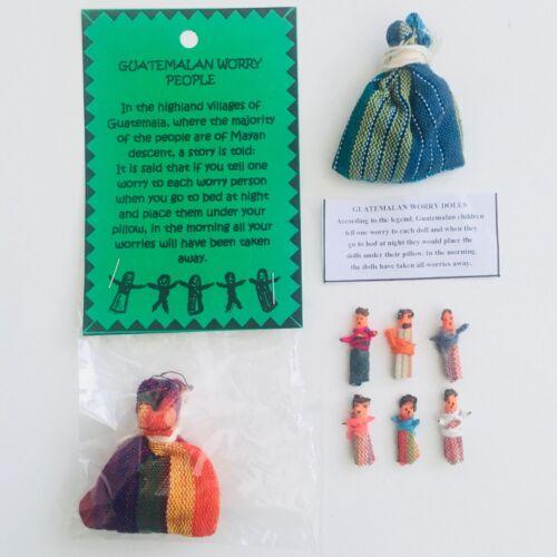 6 Small Worry Dolls // People Info Earrings Handmade Guatemala 5 Large Dolls