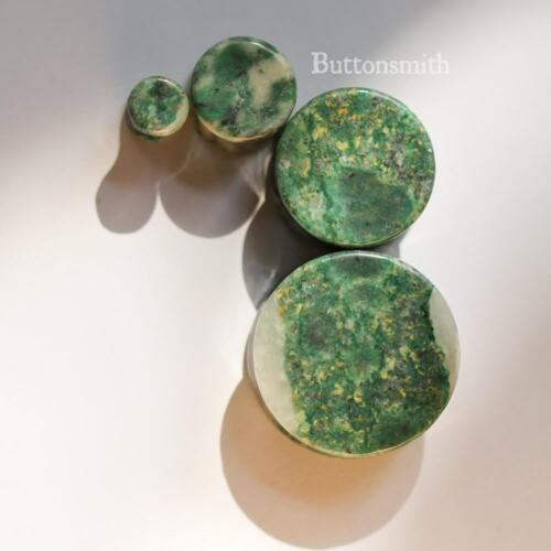"""Pair of Green Qinghai Jade Stone Plugs gauges Double Flared ear lobe 2g to 1/"""""""