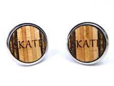 Skateboard Wood Stud Earrings Wooden Ear Piercing Studs Metal Case Jewellery